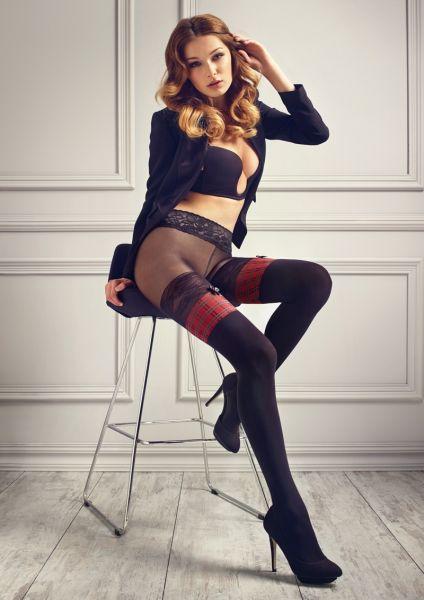Patrizia Gucci for Marilyn - Heltäckande strumpbyxa i stay up-look med spetsresår