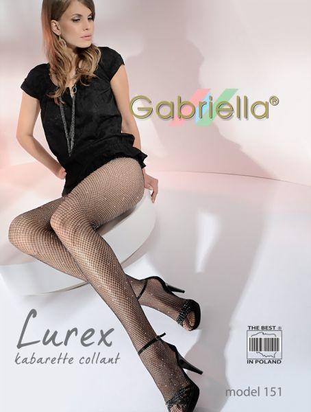 Gabriella Elegant glansig naetstrumpbyxa Lurex Kabarette