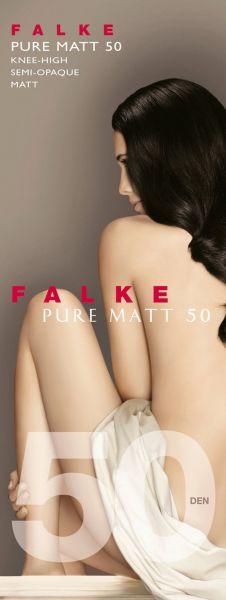 Släta semi-heltäckande knästrumpor Pure Matt 50 från Falke