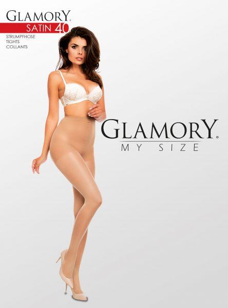 Semi-heltäckande glansig plus size strumpbyxa Satin 40 DEN från Glamory