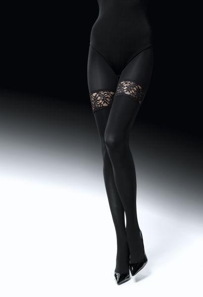 Elegant strumpbyxa i stay ups-look med spets Risky Game från Knittex