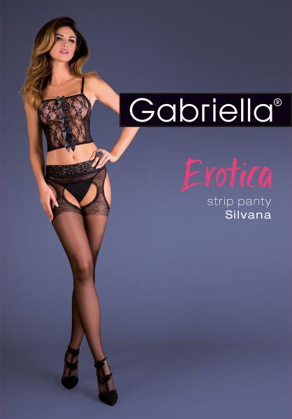 Elegant strumpbyxa i strumpebandshållarlook med spetsresår Strip Panty från Gabriella