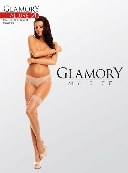 Eleganta glansiga plus size stay ups Allure 20 DEN från Glamory