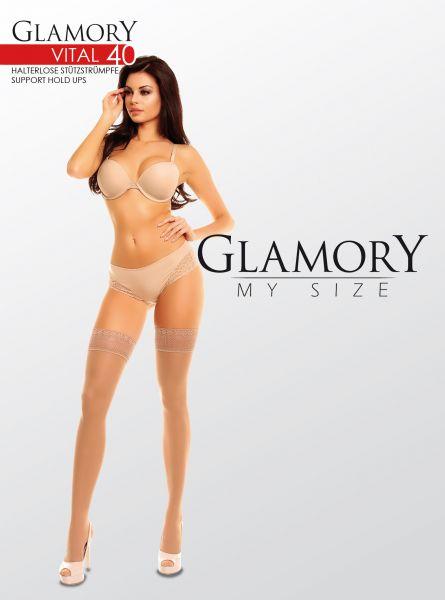 Plus size stay ups med inbyggd kompression Vital 40 DEN från Glamory